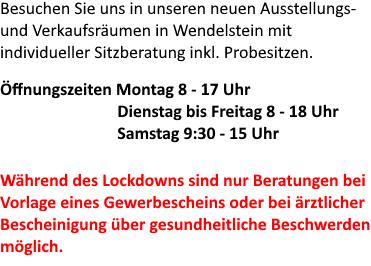 Öffnungszeiten von 1000-Stühle Steifensand in Biberach