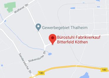 Google Anfahrt zu Bürostuhl Fabrikverkauf Bitterfeld Köthen